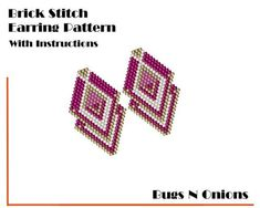 Beading Patterns for every skill level. Brick Stitch Earrings, Seed Bead Earrings, Etsy Earrings, Beaded Earrings, Beaded Bracelet Patterns, Peyote Patterns, Beading Patterns, Bead Weaving, Pink White