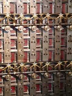 "The back of the reconstructed Enigma code-breaking ""Bombe"" at Bletchley Park"
