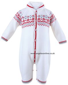 Baby boys warm winter all in one | romper in white and red by Sarah Louise. Knitted babywear by designer Sarah Louise. Sarah Louise stockist, Liverpool.