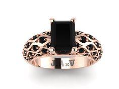 Black Diamond Engagement Wedding Emerald Cut 14K Rose Gold Ring with 8x6mm Emerald Cut Black Diamond Center - V1040 by JewelryArtworkByVick on Etsy