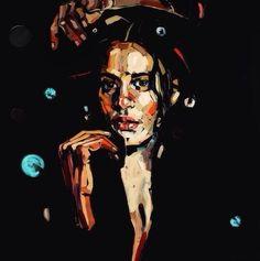 Contemporary portrait painting by Anna Bocek Ap Studio Art, Colorful Paintings, Contemporary Paintings, Acrylic Paintings, Portraits, Portrait Art, Anna, Creative Artwork, Face Art