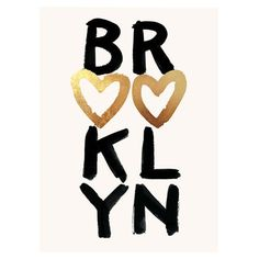 Add charming appeal to your entryway or home office with this lovely print, showcasing a Brooklyn-themed typographic motif with hand-foiled gold heart accent...