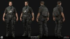 Sniper Ghost Warrior 3 - Characters We had the pleasure to work with CI Games on over 40 characters for Sniper Ghost Warrior 3 John North (Light Outfit) : We had the opportunity to create the Lead Character for the game which was a combined effort brought Game Character, Character Concept, Concept Art, Character Design, Lit Outfits, Anime Outfits, Futuristic Armour, Post Apocalypse, Modern Warfare