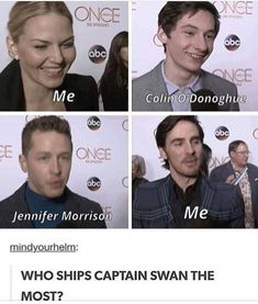 well, two for two I guess XD Once Upon A Time Funny, Once Up A Time, Ouat Characters, Bbc Musketeers, Disney Movies To Watch, Hook And Emma, Colin O'donoghue, Jennifer Morrison, Captain Hook