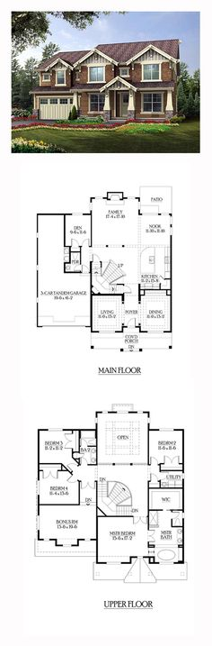 House Plan 87653 - Craftsman Style House Plan with 3442 Sq Ft, 4 Bed, 3 Bath, 3 Car Garage Luxury House Plans, Dream House Plans, My Dream Home, Dream Homes, Sims House Plans, House Floor Plans, Bathroom Design Layout, Layout Design, Craftsman Style House Plans
