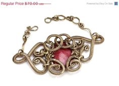Valentines Day Wire Wrap Romantic Bangle with by HyppieChic