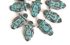 10 Mykonos Small Owl Charm 17mm Green Patina  by CreateYourBliss