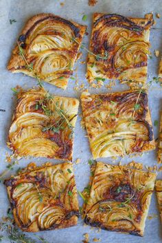 A tender crust topped with sweet roasted onions and just a hint of herbs make this a onion tart a party favorite.