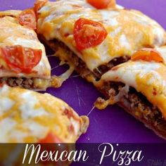 Mexican Pizza: Preheat oven to 350 degrees. Brown ground beef in skillet. Add in taco seasoning. Drain if needed. Spray baking sheet with non stick cooking spray. Lay one tortilla on sheet. Spread with beans, then, with meat. Cover with second tortilla. Bake for 10 minutes. Remove from oven. Spread top tortilla with salsa, then, top with cheese and desired toppings. Bake an additional 5-10 minutes or until cheese is melted completely. Cool slightly before cutting.