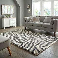 Zebra Berber Rug   Dunelm Zebra Living Room, Rugs In Living Room, Living Room Decor, Living Area, Dining Room, Zebra Print Rooms, Zebra Print Rug, Zebra Decor, Berber Rug