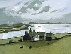 Kyffin Williams, painting of a farm by the sea Impressionist Landscape, Watercolor Landscape, Abstract Landscape, Landscape Paintings, Art Paintings, Kyffin Williams, Local Painters, Building Painting, Landscape Elements