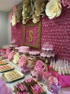 Pink backdrop paper flowers party decor doğum günü partisi f Sweet 16 Birthday, 16th Birthday, Birthday Parties, Birthday Ideas, Baby Shower Parties, Baby Shower Themes, Shower Ideas, Pink Backdrop, Fabric Backdrop
