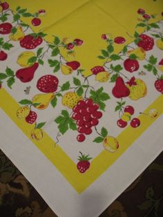 Beautiful Vintage Tablecloth, Bright Yellow Filled With Red And Yellow Fruits