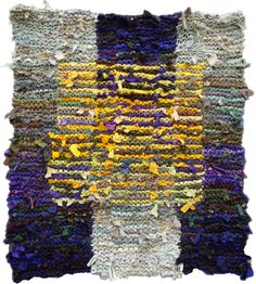 Floating Gold Square, shown in Chapter 4 of Knitting Fabric Rugs. Art From Recycled Materials, Recycled Art, Knit Rug, Crochet Rugs, Textile Sculpture, Textile Art, Medium Rugs, Hand Hooked Rugs, Fabric Rug