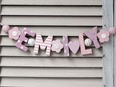 """""""EMILY"""" WOODEN WALL LETTERS BABY NAME SHOWER NURSERY DECOR PERSONALISED  SHABBY #NostalgieSpiel"""
