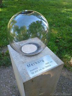 Model Układu Słonecznego - Markury (to ta mała ledwie widoczna kolorowa kropeczka w środku kuli)