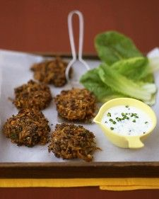 Spicy black bean cakes. Look rather delightful to me! And not so difficult to slap together. Yum. That dip is what has my heart. Because these crispy bean cakes are broiled rather than fried, the recipe doesn't call for much oil, so the cakes contain less fat; they are also easier to make.
