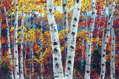Paint background blue then do leaves birch tree art | Aspen Paintings and Birch Tree Art by Jennifer Vranes
