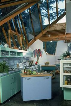 This Frank Gehry's kitchen is nothing like the average kitchen of the time, but creatively hinted at... - Susan Wood...1980