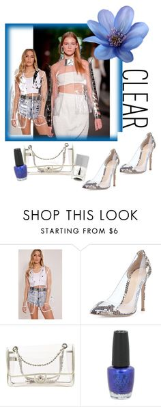 """""""Seeing Clearly"""" by yu-n-me ❤ liked on Polyvore featuring Gianvito Rossi, Chanel, OPI, Nails Inc., clear and Seethru"""