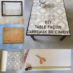 REGARDS ET MAISONS TABLE CARREAUX DE CIMENT VINYLE DIY