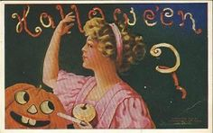 OLD Antique HALLOWEEN POSTCARD,PRETTY LADY APPLE--A/s WALL-L448