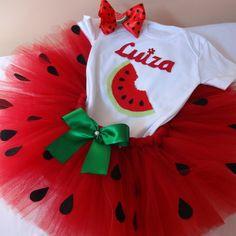First Birthday Party Themes, Birthday Tutu, Baby Girl Dresses, Baby Dress, Watermelon Crafts, Watermelon Birthday Parties, Baby Art, Baby Costumes, First Birthdays