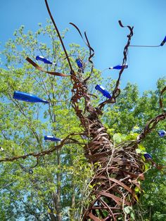 The Haint Blue Bottle Tree wards off evil spirits. If only it worked for mosquitos as well.