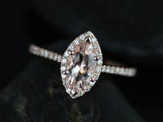Sasha 14kt Rose Gold Marquise Morganite and Diamond by RosadosBox, $875.00