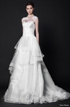 tony ward 2016 bridal illusion bateau neckline tulle horse hair trim a line wedding dress charlotte