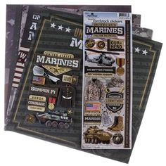 """SemperFi! Honor the Marine in your life with this12"""" x 12"""" Marines Scrapbook Page Kit. This kit includes papers and stickers centered on the United States Marines, from camouflage and the American flag backgrounds to uniform and dog tag stickers. Create beautiful and inspiring scrapbook layouts to show your support for the Marines.    Kit Contains:      8 - 12"""" x 12"""" Papers    1 - Cardstock Sticker Sheet    1 - 3D Sticker Sheet"""