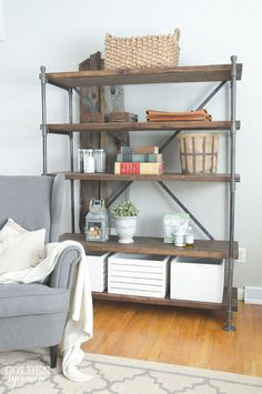 industrial-wood-and-pipe-shelving-unit-2.jpg (550×828)