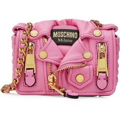 Moschino Mini Leather Shoulder Bag ($515) ❤ liked on Polyvore featuring bags, handbags, shoulder bags, pink, mini shoulder bag, mini handbags, oversized handbag, leather flap handbag and pink leather purse