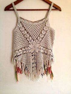 Handmade crochet boho top decorate with vintage by PadMa88 on Etsy