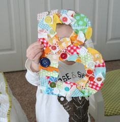 same thing with letter, either first of name or whole name, can have kids decorate with things they like or just color it