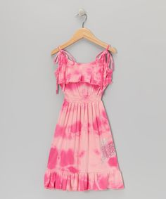 Made in the USA ...Pink & Fuchsia Tie-Dye Ruffle Dress - Girls