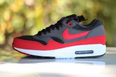 667a6ce012bf The Nike Air Max 1 in black   red - anthracite and white has made a quiet  arrival  Nike Sportswear has played around with the color combination a bit  and ...