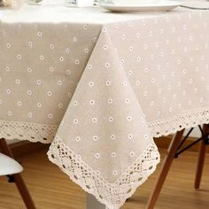 ColorBird Daisy Flower Cotton Linen Tablecloth Macrame Lace Dustproof Table Cover for Kitchen Dinning Pub Tabletop Decoration (Square, 55