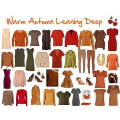 """Warm Autumn Leaning Deep -- """"Five Colors for Every Autumn to Try: There are versions of these colors in every autumn palette, so if you aren't wearing them already, try them: Olive  - Camel - Golden Brown - Coffee- Brown - Rust  -- For Warm Autumns Leaning Deep: Tomato Red - Pumpkin - Cream -  Terracotta - Deep Olive - """"If these deeper colors seem to work even better for you, then try a capsule wardrobe with them and use some of the other warm autumn colors as accents."""