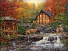The Colors of Life by Chuck Pinson ~ cabin ~ autumn ~ gazebo ~ deer ~ stream