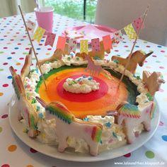 Einhorngeburtstag Regenbogengeburtstag Einhornkuchen Regenbogenkuchen Rainbowcake Unicorns www.loloundtheo.blogspot.de