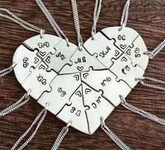 Hand engraved Argentium Silver #heart #puzzle #necklaces, #friendship, #family, BFF, #thirteen, #13 pieces, #wedding, #graduation by InspiredByBronx on Etsy https://www.etsy.com/listing/508932262/hand-engraved-argentium-silver-heart