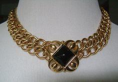Vintage MONET Double Gold Tone Chain necklace with black cabochon stone center