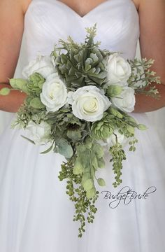Davids Bridal Fern Green   cascading teardrop Wedding Bouquet with succulent and greenery