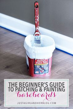 Definitely read this post before you start patching and painting baseboards! This is the easiest method that I have seen! Click through to the post to see how! Painting Baseboards, Painting Trim, Paint Paneling, Paint Walls, Chalk Paint, Home Improvement Projects, Home Projects, Craft Projects, Home Renovation
