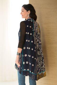 Border A-Line Vest by Mieko Mintz (Cotton Vest) Cotton Vest, Refashion, New Outfits, Wearable Art, Nice Dresses, Tunic Tops, One Piece, Paper Dresses, Wing Collar