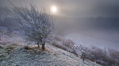 Frost in the hamlet of Knighton.'I take hundreds of photos and probably one in ten ends up being a good one,' says Russell