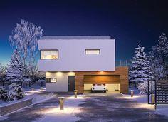 """""""Attykowy"""" Murator C351 - nowoczesny dom z płaskim dachem o bardzo ciekawie skomponowanej bryle."""