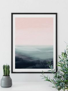Printable Original Abstract Art, Relaxing landscape painting. Acrylics on watercolor paper. A minimal, contemporary piece of abstract artwork hand painted. The painting has been photographed and then made into a digital file that you can download and print out. This printable art is a