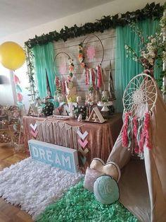 "Dream Catcher / Birthday ""Dream big little one "" Wild One Birthday Party, First Birthday Themes, Baby Girl First Birthday, 2nd Birthday Parties, Pocahontas Birthday Party, Hippie Birthday Party, Birthday Ideas, 23 Birthday, Fabulous Birthday"